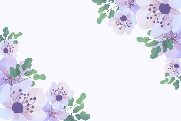 パステルカラーの水彩画の花の壁紙 無料ベクター