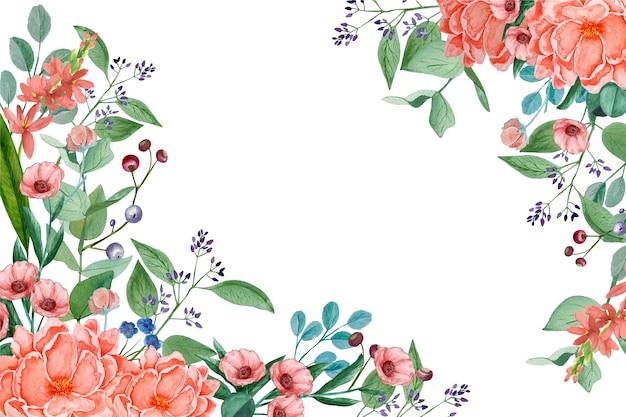 Watercolor floral wallpaper in pastel colors Free Vector