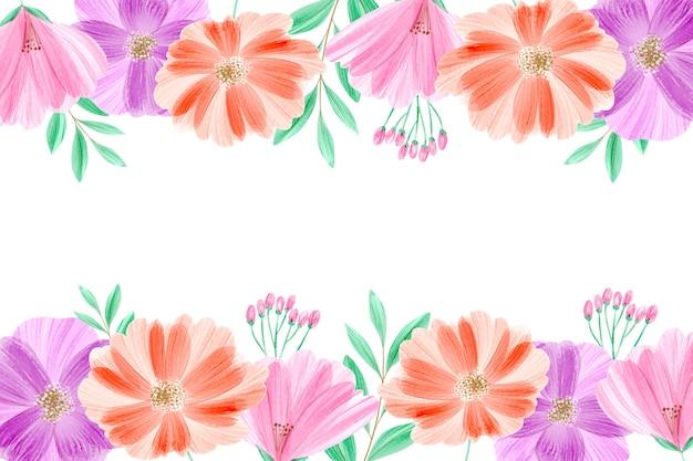 Watercolor floral wallpaper in pastels Free Vector