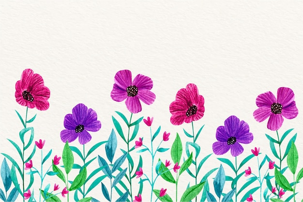 Tema di carta da parati floreale dell'acquerello Vettore gratuito