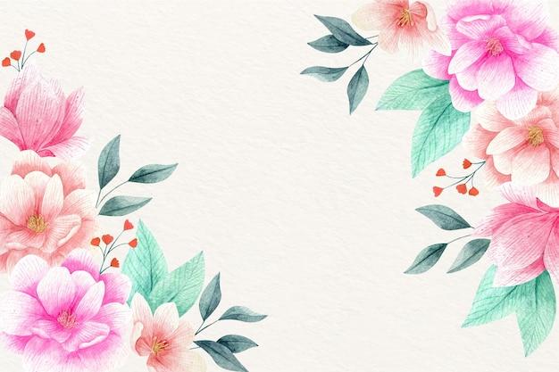 수채화 꽃 무늬 벽지 무료 벡터