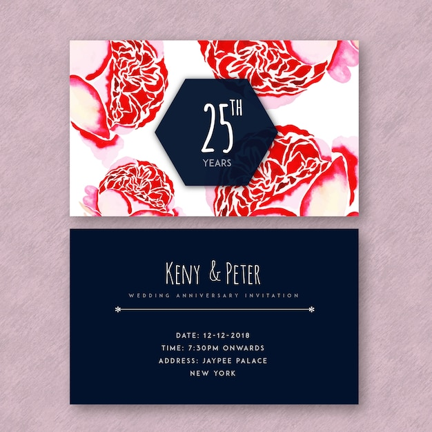 Watercolor floral wedding anniversary invitation cards vector free watercolor floral wedding anniversary invitation cards free vector stopboris Images