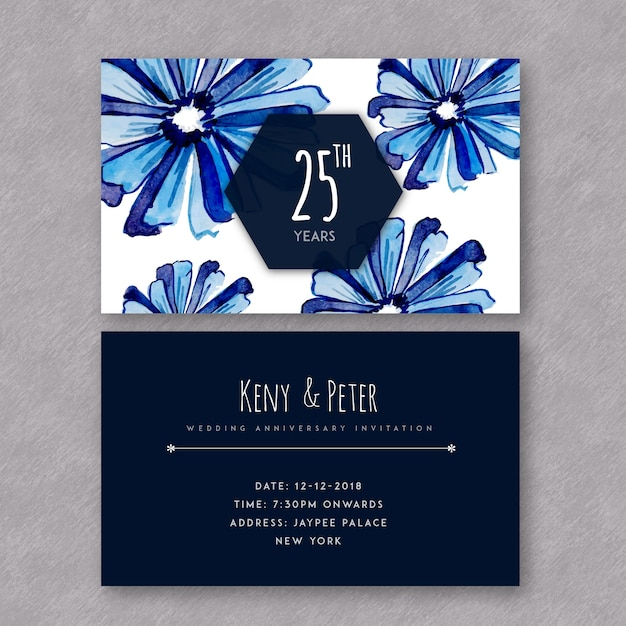 Watercolor floral wedding anniversary invitation cards vector free watercolor floral wedding anniversary invitation cards free vector stopboris Choice Image