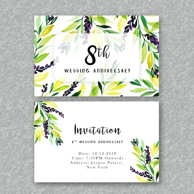 Watercolor floral wedding anniversary invitation vector premium watercolor floral wedding anniversary invitation premium vector stopboris Image collections