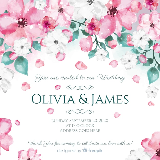 watercolor floral wedding card template vector free download