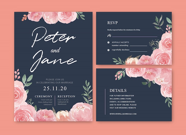 Watercolor floral wedding card template Free Vector
