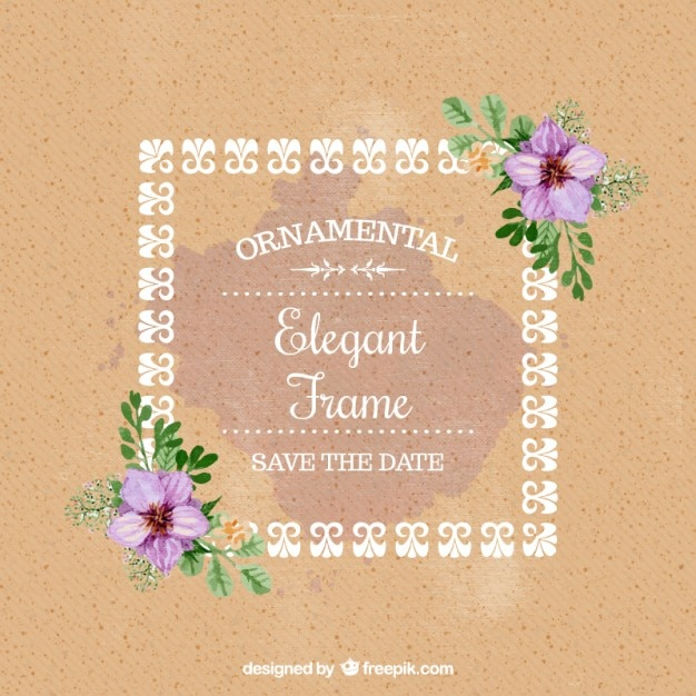 Watercolor floral wedding card with a decorative frame vector free watercolor floral wedding card with a decorative frame free vector junglespirit Images