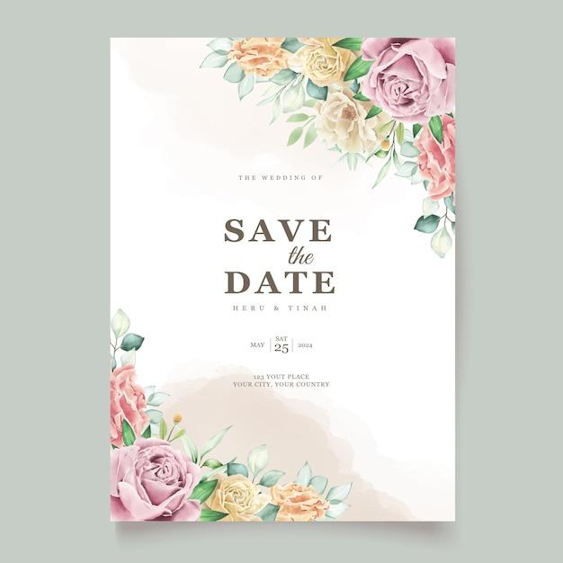 수채화 꽃 웨딩 카드 무료 벡터