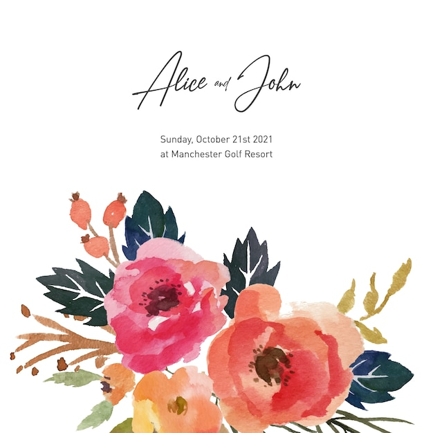 Watercolor floral wedding and engagement invitation free vector Premium Vector