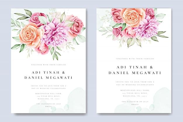 Watercolor floral wedding invitation card template Premium Vector