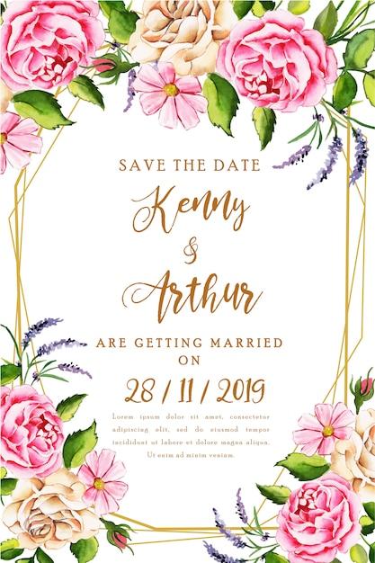 Watercolor floral wedding invitation card Premium Vector