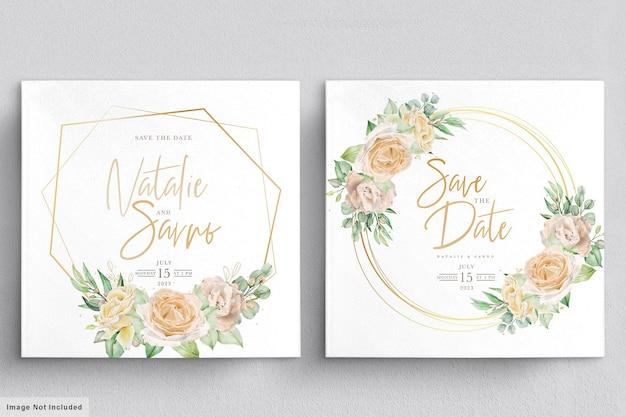 수채화 꽃 결혼식 초대 카드 무료 벡터