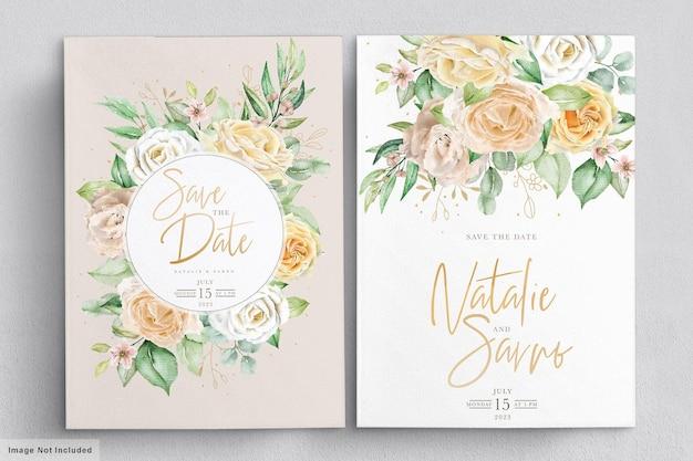 수채화 꽃 결혼식 초대 카드 프리미엄 벡터