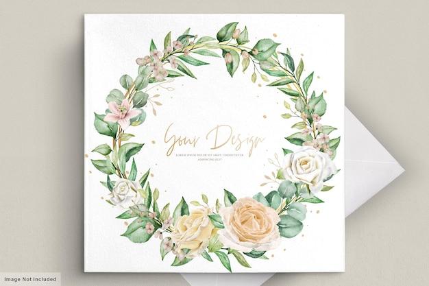 Акварель цветочные свадебные приглашения карты Premium векторы