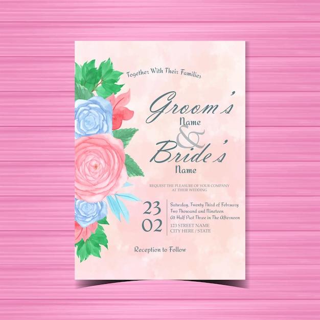 Акварель цветочные свадебные приглашения Premium векторы