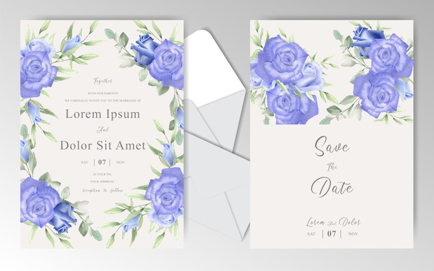 Watercolor floral wedding invitation cards with navy blue roses and leaves Premium Vector
