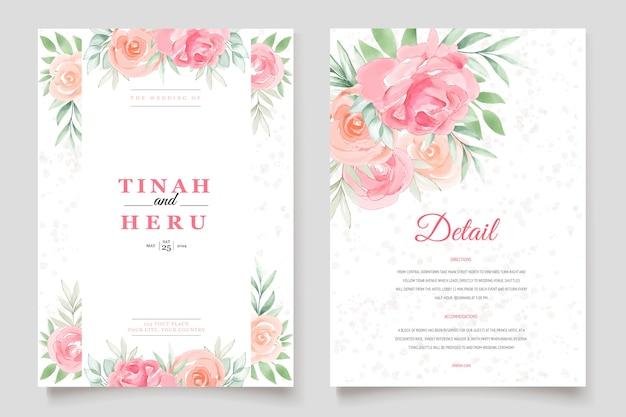 Акварельные цветочные свадебные приглашения Бесплатные векторы