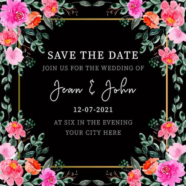 Watercolor floral wedding invitation frame Premium Vector