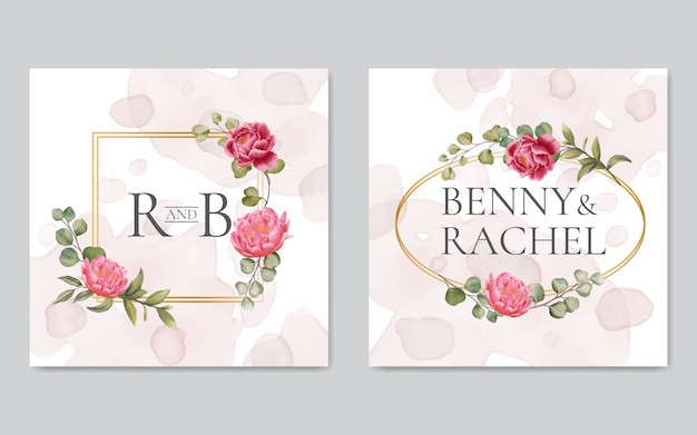Watercolor floral wedding invitation gold frame Premium Vector