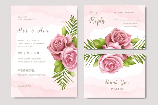 Watercolor floral wedding invitation set card template rose flower Premium Vector