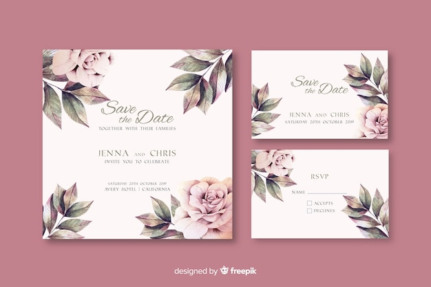 Watercolor floral wedding invitation template Free Vector