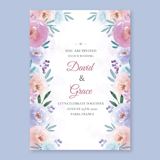 Watercolor floral wedding invitation template Premium Vector
