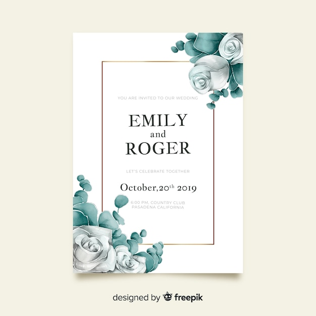 Watercolor floral wedding invitation template Free Vector