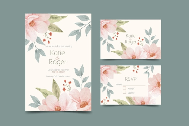 Modello di invito matrimonio floreale dell'acquerello Vettore gratuito