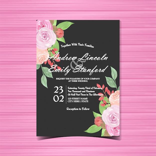 Акварельные цветочные свадебные приглашения с красивыми розами Premium векторы