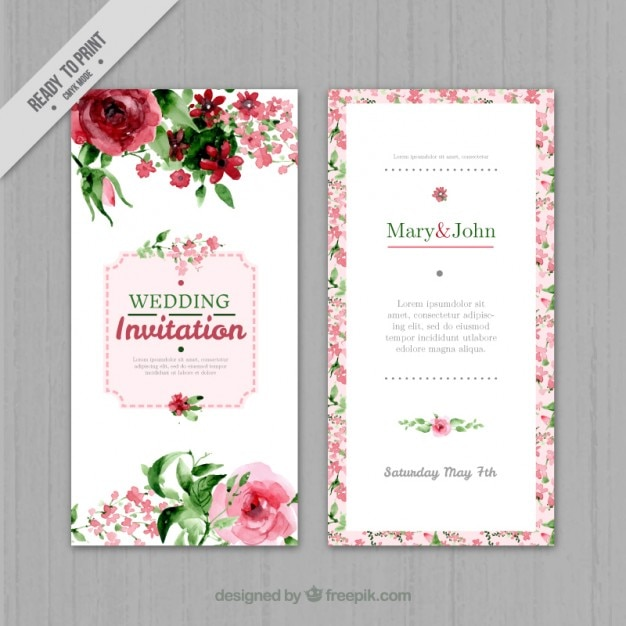 Watercolor floral wedding invitation Vector Free Download