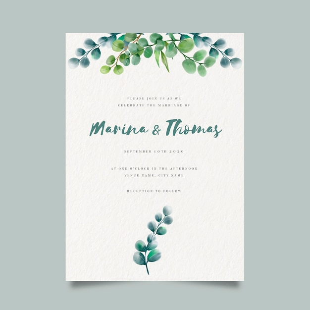 Watercolor floral wedding invite template Premium Vector