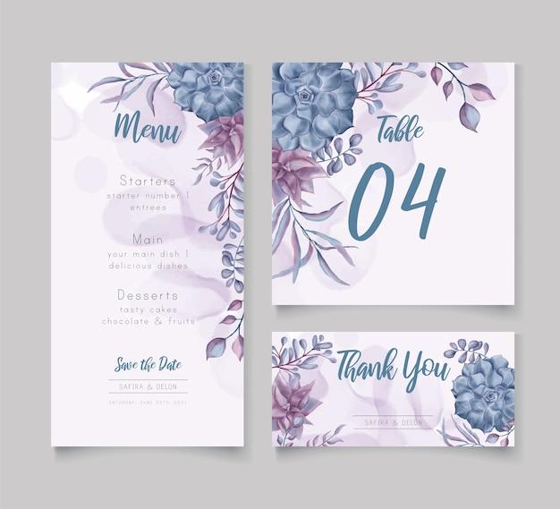Watercolor floral wedding menu template set bundle Premium Vector