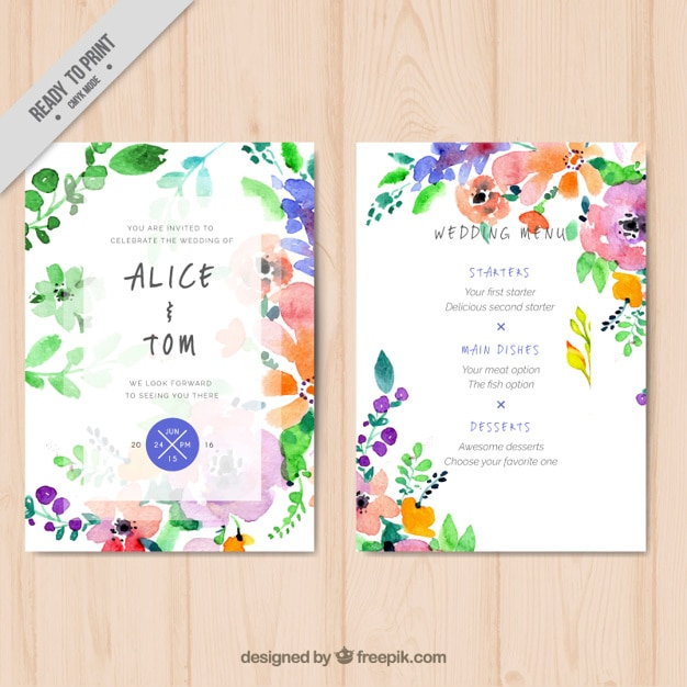 Watercolor floral wedding menu template Vector Free Download