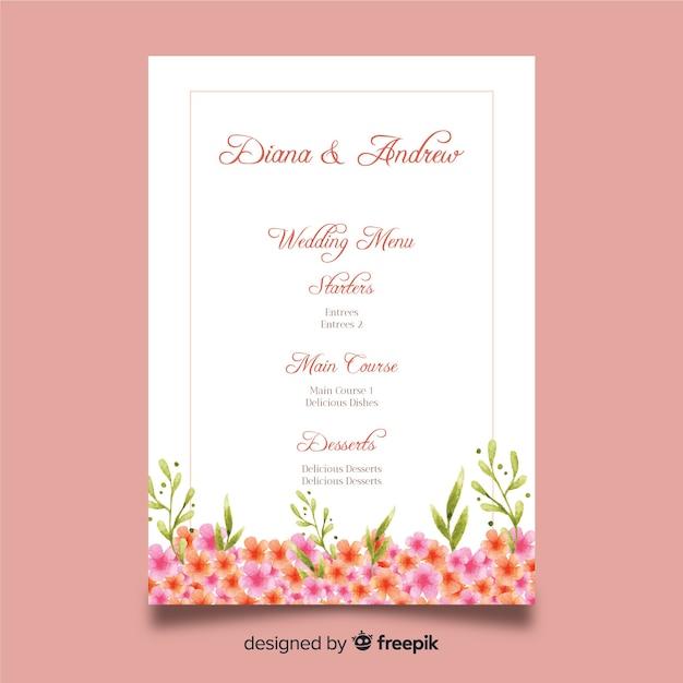 Watercolor floral wedding menu template Free Vector