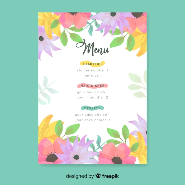 Watercolor floral wedding menu template Free Vector
