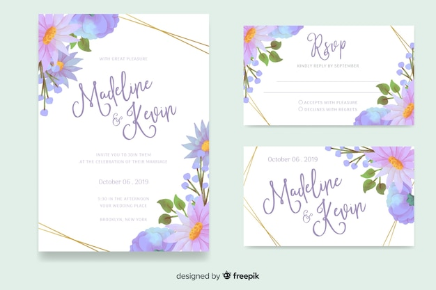 Watercolor floral wedding stationery template Free Vector