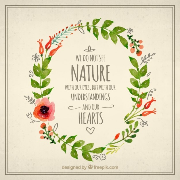 Nature Images With Quotes Download: Watercolor Floral Wreath With A Nature Quote Vector