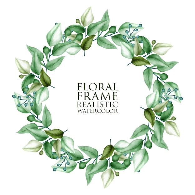 花と水彩のフローラルリース Premiumベクター