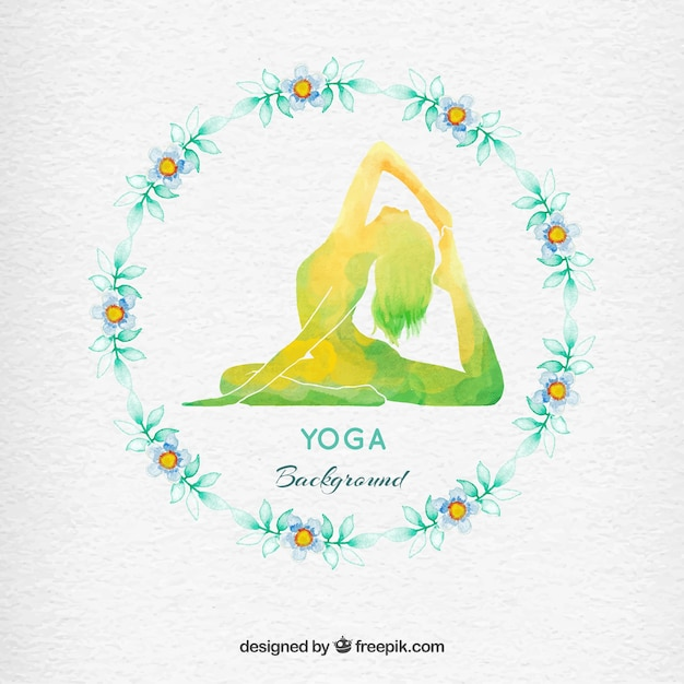Watercolor floral wreath yoga background