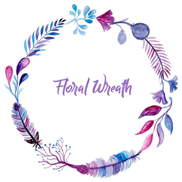watercolor floral wreath vector free download
