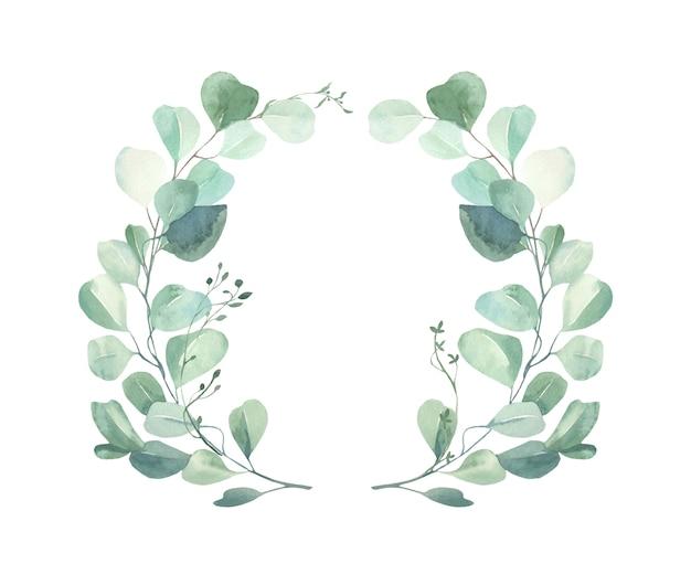 Watercolor floral  wreath. Premium Vector