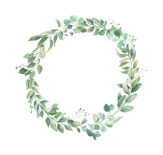 Watercolor floral  wreath. Premium Vector