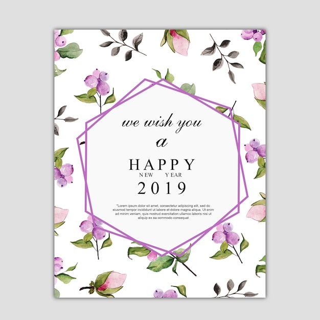 Watercolor florals greeting card Premium Vector