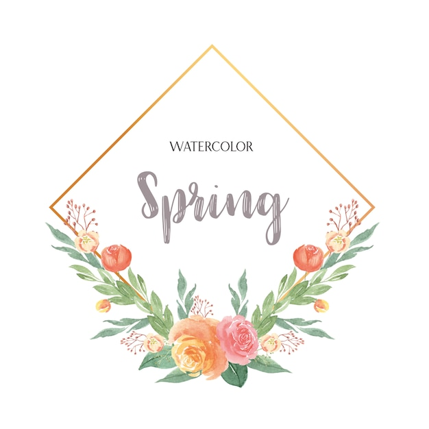 Watercolor florals hand painted with text wreaths Premium Vector