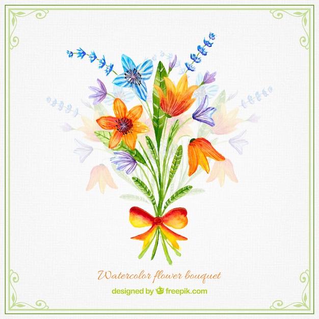 Disegno Mazzo Di Fiori.Watercolor Flower Bouquet Design Premium Vector