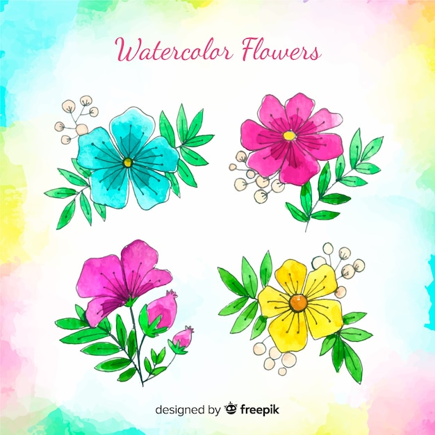 Watercolor flower collection Free Vector