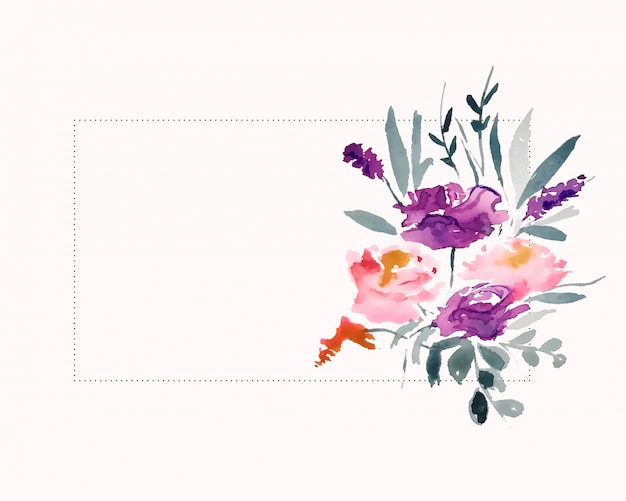 Watercolor flower decoration with text space area Free Vector