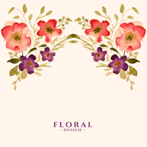 수채화 꽃 꽃 장식 템플릿 카드 무료 벡터