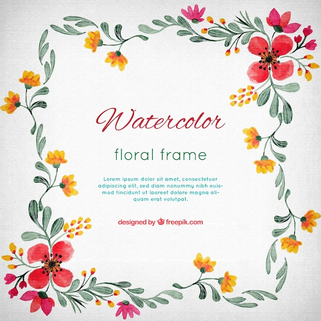 watercolor flower frame free vector