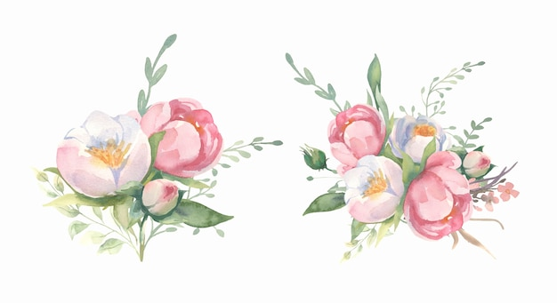 Watercolor  flower and green leaf branches bouquets collection. Premium Vector